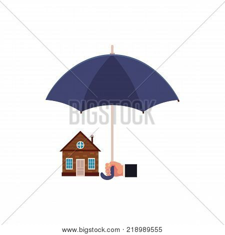 Vector flat house insurance concept. Private house being protecting from disasters by business hand holding big umbrella. Natural disaster scenes. Isolated illustration on a white background