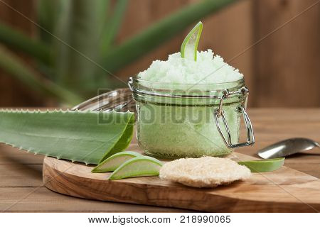 Handmade Aloe Scrub. Aloe Vera Leaf. Spa Room