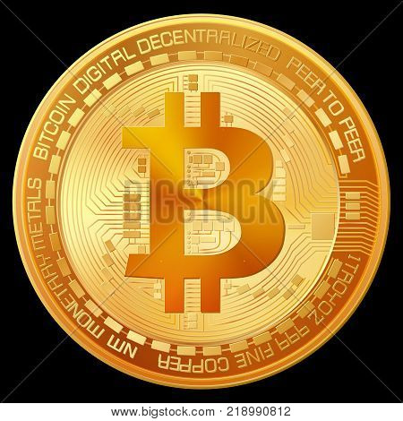 world famous digital currency bitcoin, high detailed vector coin