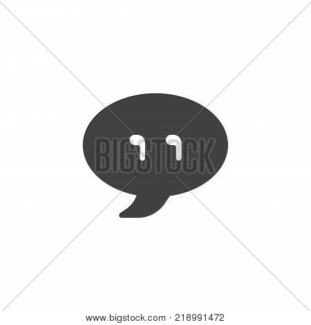 Chat bubble with quotes icon vector, filled flat sign, solid pictogram isolated on white. Quotation mark symbol, logo illustration.