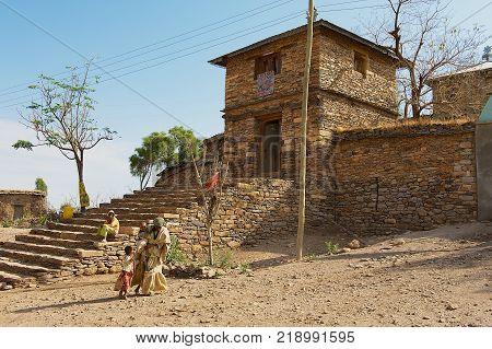 YEHA, ETHIOPIA - JANUARY 25, 2010: Exterior of the entrance to the Yeha temple (Temple of the Moon) in Yeha, Ethiopia. Yeha temple is one of the oldest standing in Ethiopia.