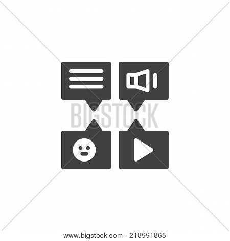 Message types icon vector, filled flat sign, solid pictogram isolated on white. Voice, video and text messages symbol, logo illustration.