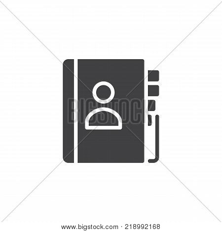 Contact book icon vector, filled flat sign, solid pictogram isolated on white. Address book symbol, logo illustration.
