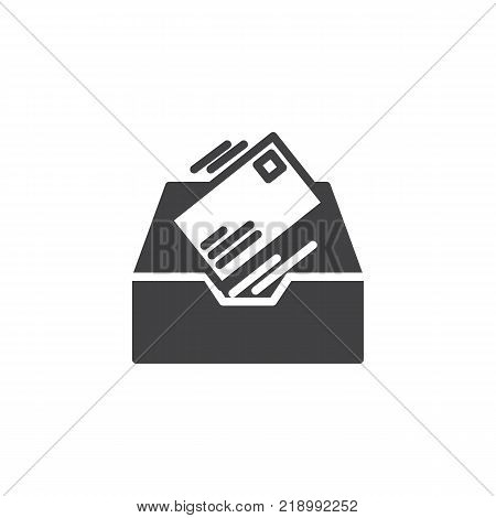 Inbox message icon vector, filled flat sign, solid pictogram isolated on white. Symbol, logo illustration.