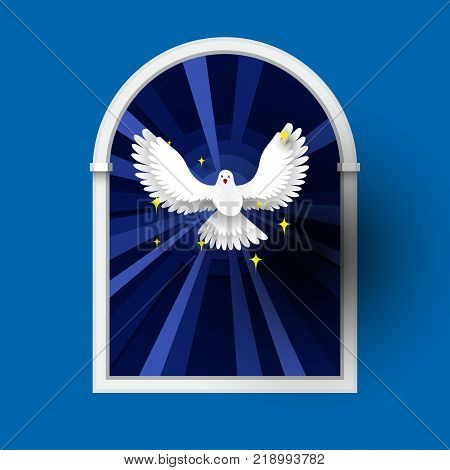 Holy Spirit come above the window White Dove Flat Paper Style Vector.