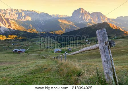 Gardena valley wonderful Seceda peak the Odle mountain range in the Dolomites at sunset in Italy