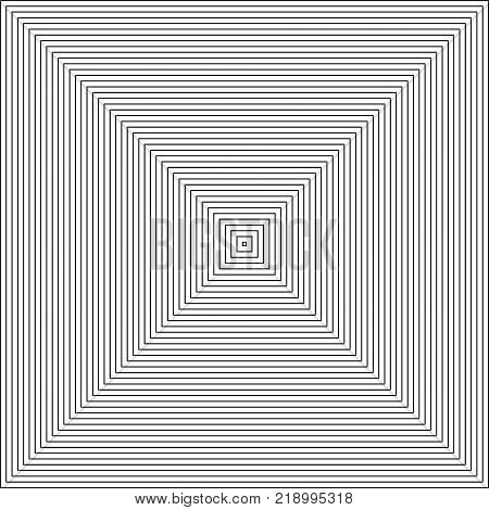 Vector radiating squares spiral. Retro style abstract background. Contour lines of group of squares. Black And White.