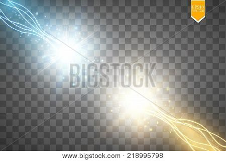 Collision of two forces with gold and blue light. Vector illustration. Hot and cold sparkling power. Energy lightning with electric discharge. Vector