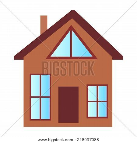 Cottage house with big windows of rectangular and triangular shapes, attic floor and chimney pipe isolated vector illustration on white background.