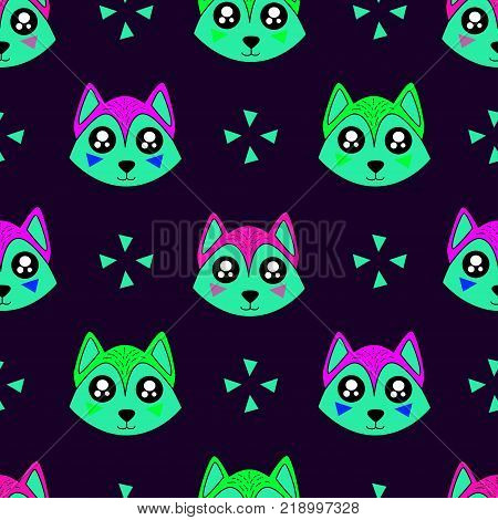Cute Kids Wolf Pattern For Girls And Boys. Colorful Wolf On The Abstract Background Create A Fun Car