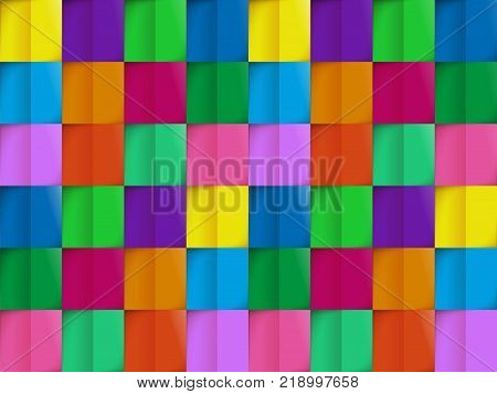 Colorful pattern from seamless background cutting colored flaps vector illustration. Geometric abstract wallpaper from colored pieces by cloth or paper