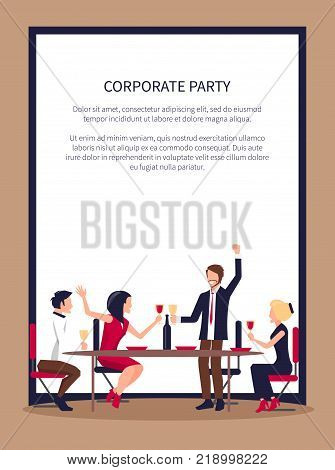 Corporate party poster with people drinking red wine and partying together, man saying toast and co-workers listen vector illustration place for text