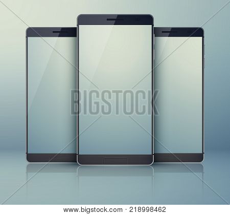 Three-piece outfit smartphone collection on the grey background with modern identic cellphones and with shadows on their light digital blanks touchscreens vector illustration