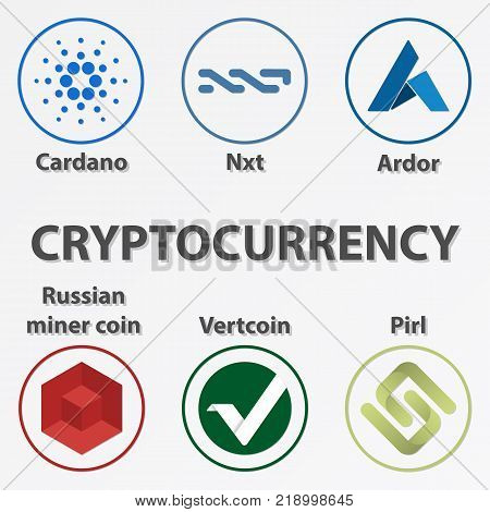 Set of 6 crypto currency coin. Golden cardano nxt ardor vertcoin pirl and russian miner coin