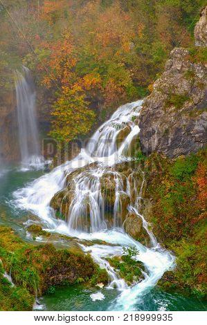 Waterfall The Plitvice Lakes At Autumn