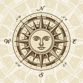 Vintage sun compass rose in woodcut style. Vector illustration with clipping mask. poster