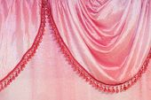 Material details of pink curtain with tassels poster