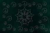 world peace and solidarity conceptual illustration: people holding hands around the world and peace symbols all around them poster