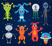 Monster alien vector cartoon monstrous character cute alienated creature or funny gremlin on halloween for kids monstrosity and alienation illustration isolated on white background. poster