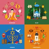 Four squares religions icon set with buddhism islam Judaism and Christianity descriptions vector illustration poster