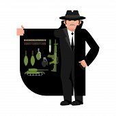 Smuggler selling weapon. Gun and warheads. Ammunition and grenade. Cloak-seller isolated. Dealer in hat and coat . Bootlegger. Seller prohibited goods of black marke. Legitimate trade. Vector illustration poster