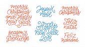 Merry Christmas, Happy New Year 2018, Feliz Navidad, Feliz Natal, Joyeux Noel, Seasons greetings line art calligraphic lettering quotes isolated on white background. Editable stroke. Typography design poster