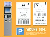 Realistic modern terminal for paying for car parking and parking receipt. Vector illustration. poster