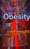 Background concept wordcloud illustration of obesity fat overweight glowing light poster