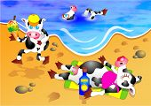 A family of cows enjoying a relaxing day at the beach. poster