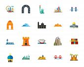 Attractions icon set. Can be used for topics like sightseeing, travelling, destination, journey poster