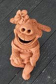 Buffalo pottery a smile On the wooden floor poster