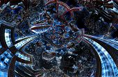 3d ultraviolet fractal of future city. Development of civilization in galaxy spiral galaxy. High-tech settlement on space cosmos orbit. Energy of metal concept. Disorderly pattern of metal particles. poster