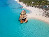 Aerial view of shipwreck on the beach in Grand Turk, Turks and Caicos. poster
