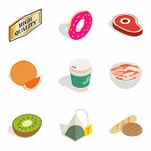 Calories icons set. Isometric set of 9 calories vector icons for web isolated on white background poster
