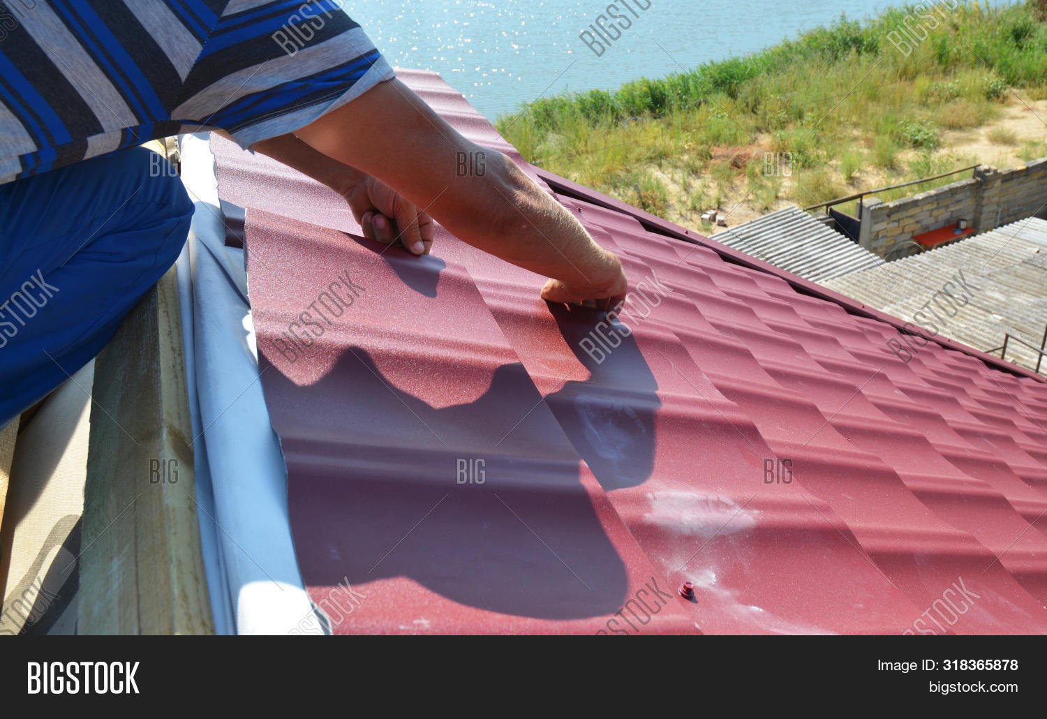 Roofer Contractor Image Photo Free Trial Bigstock