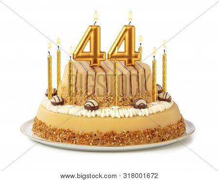 Festive Cake With Golden Candles - Number 44