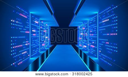 Data Center Abstract Background. Interior Of Server Room. Digital Information Warehouse. Web Hosting