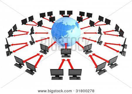Business image. World map and computer