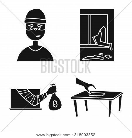 Vector Illustration Of Robber And Villain Sign. Set Of Robber And Police Stock Vector Illustration.