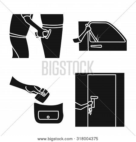 Vector Illustration Of Robber And Villain Icon. Set Of Robber And Police Stock Vector Illustration.