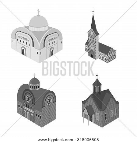 Vector Illustration Of Landmark And Clergy Icon. Collection Of Landmark And Religion Stock Vector Il