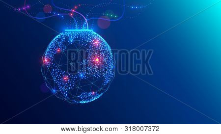 Christmas Ball On Close Up Tree In Electronic, Communication Technology Style. Global Internet, Netw