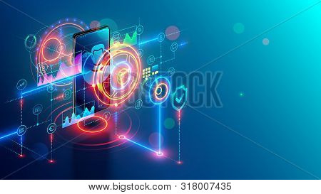 Internet Mobile Banking Isometric Concept. Online Bank On Phone. Safety Web Payment Through Mobile A