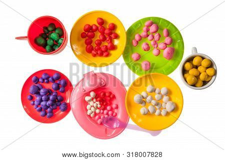 Toy Food From Plasticine Jelly Beans Isolated On White