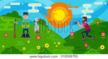 Hunter With A Gun And Duck Hunting And Photographer Scene Vector Illustration. Cartoon Characters An