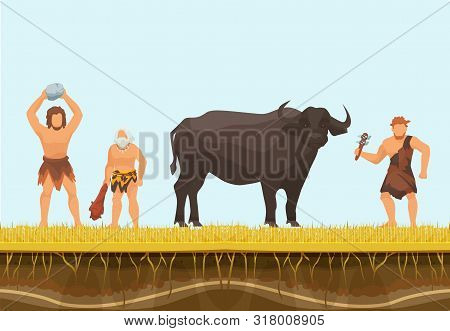 Primitive Hunters Or Cavemen Character With Wild Bull Vector Illustration. Hunting With Primitive We