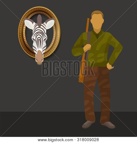 Zebra Wild Animals Trophy And Hunter With Rifle Gun Vector Illustration. African Safari Hunting Adve