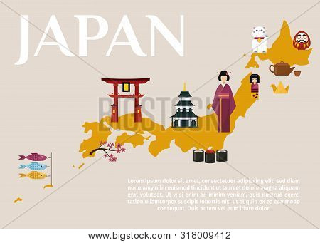 Traditional Japan Travel Map, Famous Culture Symbols Vector Illustration. Japan Travel And Tour In J