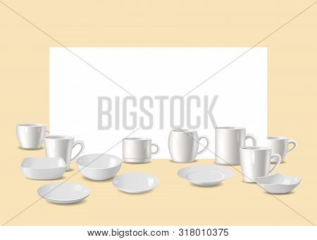 Empty White Dishware, Utensil For Bar Or Restaurant Vector Illustration. Set Of White Plates, Bowls,