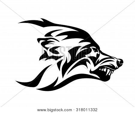 Angry Snarling Wolf Profile Head - Ferocious Animal Profile Black And White Vector Mascot Design